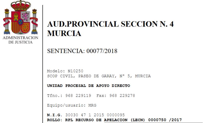 La audiencia provincial de murcia estima el recurso for Sentencia devolucion clausula suelo